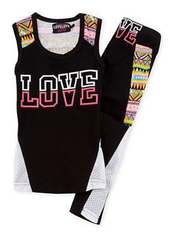 Girls 7-16 Love Graphic Top and Leggings with Mesh Trim - 1608063400009