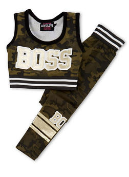 Girls 7-16 2 Piece Camouflage Boss Graphic Crop Top and Legging Set - 1608063400012