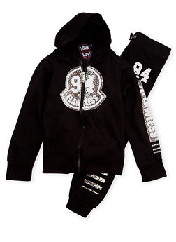 Girls 7-16 Hoodie and Joggers with 94 Flawless Leopard Print - 1608063400013