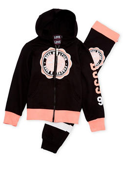 Girls 7-16 Graphic Hoodie and Joggers Set - 1608063400014