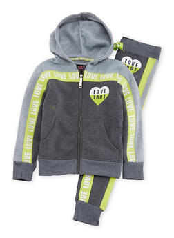 Girls 7-16 Fleece Love Print Hoodie Jogger Set - 1608063400020