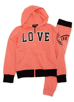 Girls 7-16 Love Graphic Light Weight Hoodie and Jogger Set - 1608063400021