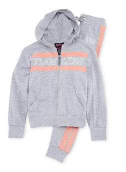 Girls 7-16 Flawless Print Hoodie Jogger Set - 1608063400022