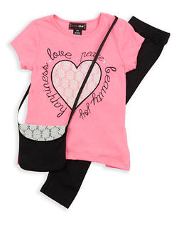 Girls 7-16 Graphic T Shirt with Leggings and Purse - 1608073990009