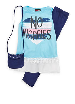 Girls 7-16 Graphic Tank with Leggings and Purse - 1608073990010