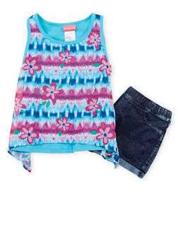 Girls 4-6x Printed Tank Top and Denim Shorts Set - 1609023260028