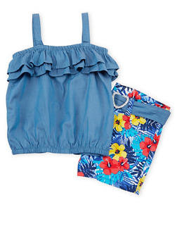 Girls 4-6x Ruffled Top And Floral Print Short Set - 1609023260030