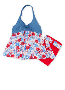 Girls 4-6x Floral Halter Neck Top with Belted Shorts - 1609023260031