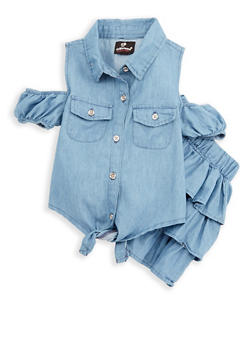 Girls 4-6x Chambray Tie Front Top with Skirt - 1609054730018