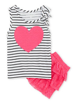 Girls 4-6X Striped Heart Tank Top with Tiered Lace Skort - 1609060990003