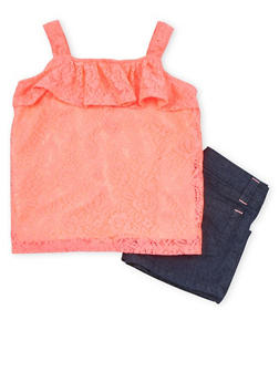 Girls 4-6x Ruffled Lace Tank Top with Denim Shorts - 1609060990006