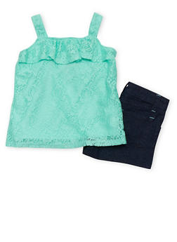 Girls 4-6x Lace Tank Top with Denim Shorts - 1609060990008