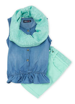 Girls 4-6x Limited Too Sleeveless Denim Shirt with Shorts and Infinity Scarf - 1609060990014