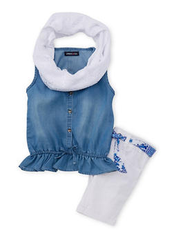 Girls 4-6x Limited Too Button Front Chambray Top with Bermuda Shorts and Infinity Scarf - 1609060990015