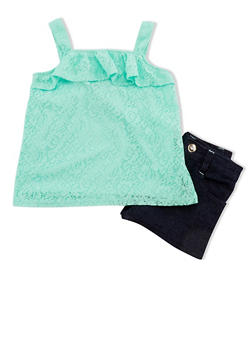 Girls 4-6x Lace Ruffled Top and Denim Shorts Set - 1609060990020