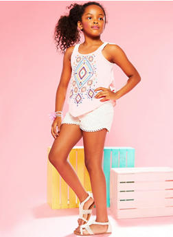 Girls 7-16 Graphic Tank Top and Crochet Shorts Set - 1610021280003