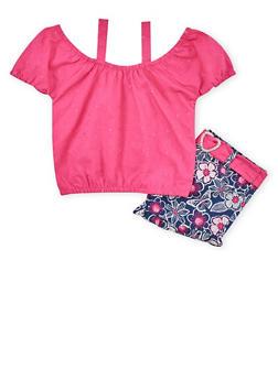 Girls 7-16 Cold Shoulder Top with Floral Belted Shorts - 1610023260341
