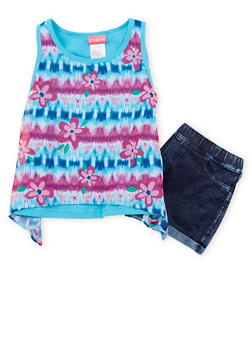 Girls 7-16 Printed Asymmetrical Tank Top with Shorts - 1610023260345