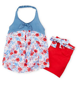 Girls 7-16 Floral Printed Halter Top and Belted Shorts - 1610023260348