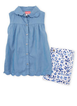 Girls 7-16 Sleeveless Chambray Shirt with Floral Shorts - 1610023260351