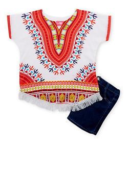 Girls 7-16 Dashiki Print Top with Denim Shorts - 1610048370010