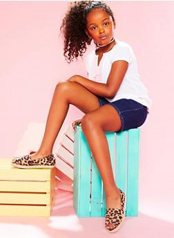 Girls 7-16 Gauzy Pom Pom Trimmed Top with Denim Shorts - 1610048370013