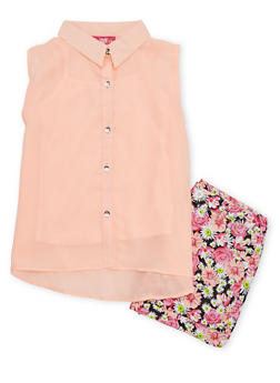 Girls 7-16 Sleeveless Button Front Tie Top with Floral Shorts - 1610048370032