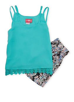 Girls 7-16 Double Strap Crepe Tank Top with Floral Shorts - 1610048370035