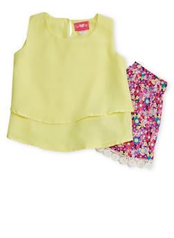 Girls 7-16 Double Layer Crepe Top with Floral Crochet Trim Shorts - 1610048370036