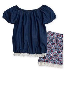 Girls 7-16 Denim Crochet Trim Top with Printed Shorts - 1610048370037