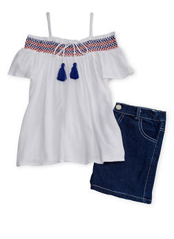 Girls 7-16 Embriodered Off The Shoulder Top with Denim Shorts - 1610048370038