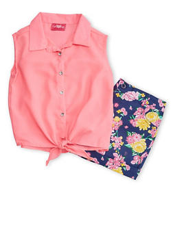 Girls 7-16 Sleeveless Crepe Button Front Top with Floral Shorts - 1610048370040