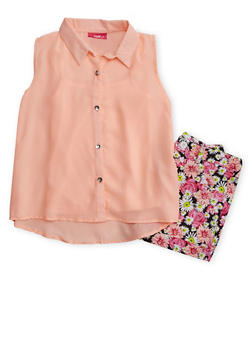 Girls 7-16 Sleevless Crepe Button Front Top with Floral Shorts - 1610048370041
