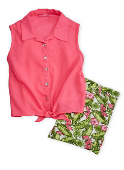 Girls 7-16 Sleeveless Button Up Crepe Top with Floral Shorts - 1610048370042