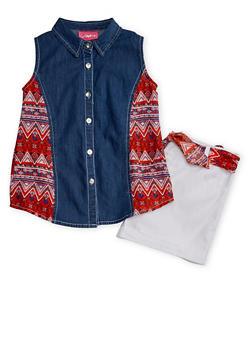 Girls 7-16 Sleeveless Aztec Denim Top with Aztec Sash Shorts - 1610048370043