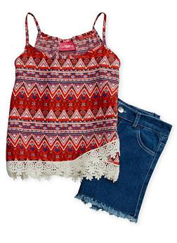 Girls 7-16 Aztec Print Tank Top with Denim Shorts - 1610048370044