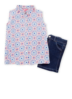 Girls 7-16 Printed Button Front Top with Denim Shorts - 1610048370045