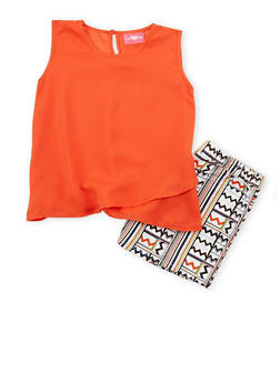 Girls 7-16 Sleeveless Chiffon Top with Aztec Printed Shorts - 1610048370046