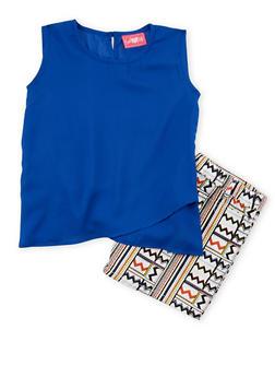 Girls 7-16 Sleeveless Chiffon Top with Aztec Printed Shorts - 1610048370046