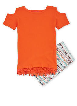 Girls 7-16 Cold Shoulder Rib Knit Top with Aztec Printed Shorts - 1610048370051