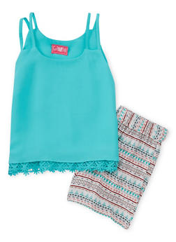 Girls 7-16 Double Strap Crochet Trim Top with Printed Shorts - 1610048370052
