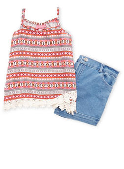 Girls 7-16 Printed Crochet Trim Top with Denim Shorts - 1610048370053