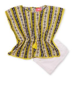 Girls 7-16 Printed Chiffon Top with Twill Shorts - 1610048370054