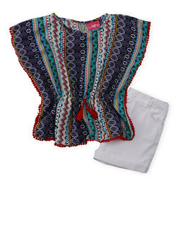 Girls 7-16 Printed Kimono with Crochet Trim and Cuffed Shorts - 1610048370055