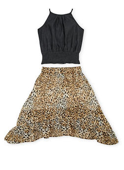Girls 7-16 Chambray Halter Top and Leopard Print Skirt Set - 1610054730008