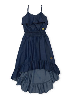Girls 7-16 Ruffled Chambray Crop Top and High Low Skirt Set - 1610054730009
