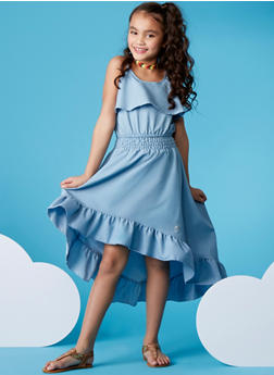 Girls 7-16 Ruffled Chambray Crop Top and High Low Skirt Set - LIGHT WASH - 1610054730009