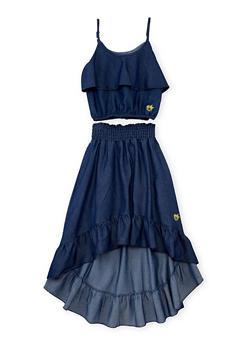Girls 7-16 Ruffled Chambray Crop Top and High Low Skirt Set - DARK WASH - 1610054730009