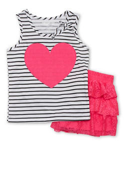 Girls 7-16 Graphic Striped Tank Top with Tiered Lace Shorts - 1610060990001