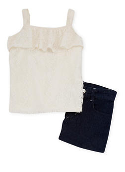 Girls 7-16 2 Piece Lace Tank Top with Denim Shorts - 1610060990003